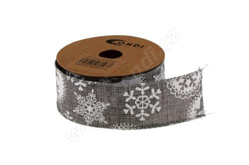 Vánoční polyjutová stuha 4cm x 5m AJ1604 20-stříbrná