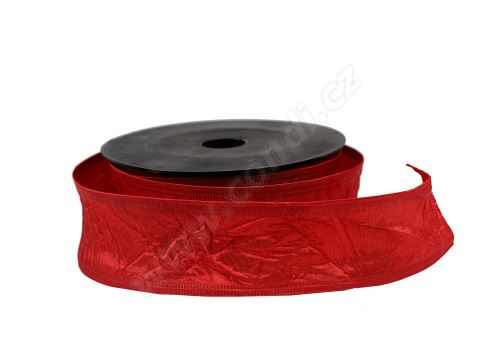 Textilní mačkaná stuha 4cm x 9,1m 1 tmavě červená