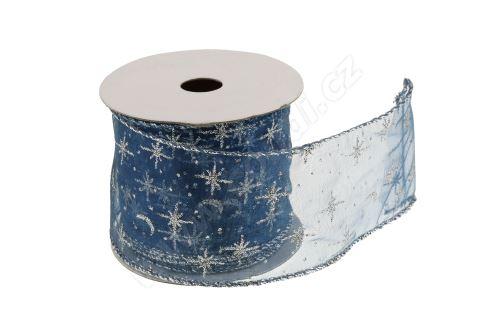 Vánoční textilní stuha na dárky a dekorace 6 cm x 2 m hvězdičky modrá
