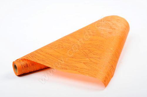 Vlizelín dekorativní a aranžerský s glitrem 37,5cm ORANŽOVÝ