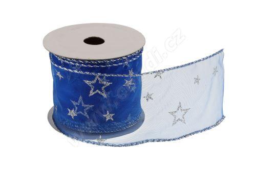 Vánoční textilní stuha na dárky a dekorace 6 cm x 2 m hvězdy modrá