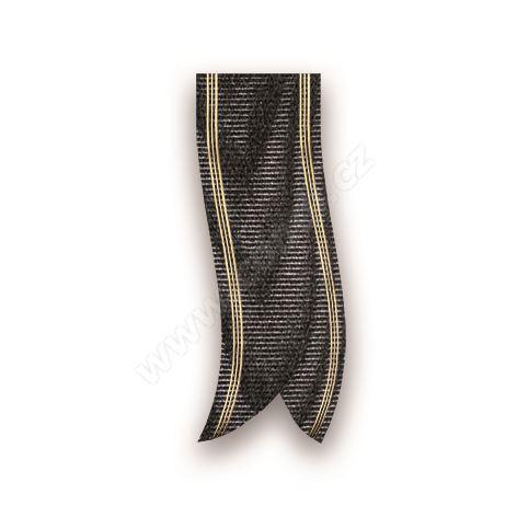 Smuteční stuha mramorová s metalem 68190 7 cm x 100 m - 18 černá