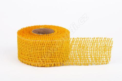 Stuha jutová jemná 5cm x 5m ŽLUTÁ