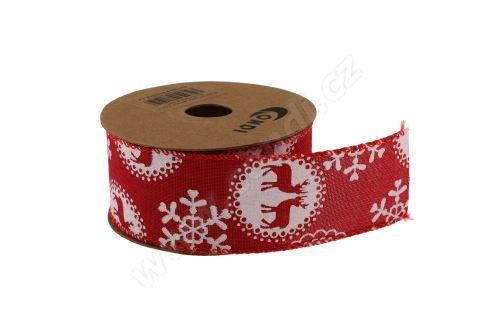 Vánoční polyjutová stuha 4cm x 5m AJ1604 2-červená