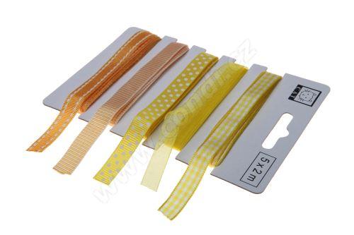 Žlutý set textilních stuh 1,1cm x 2m 5ks