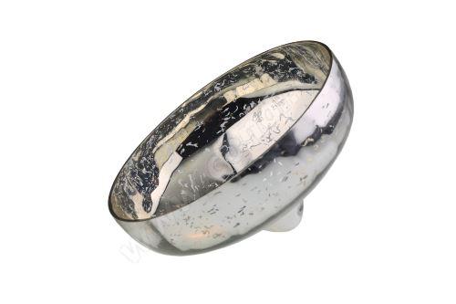 Svícen skleněný plovoucí 12,5 cm rolnické stříbro
