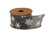Vánoční jutová stuha vzor vločka 5cm x 5m AJ1605 3 - šedá/bílá