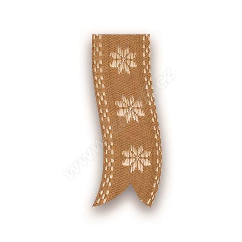 Vánoční tkaná textilní stuha 310 hvězda 2,5cm x 10m - 15 zlatá