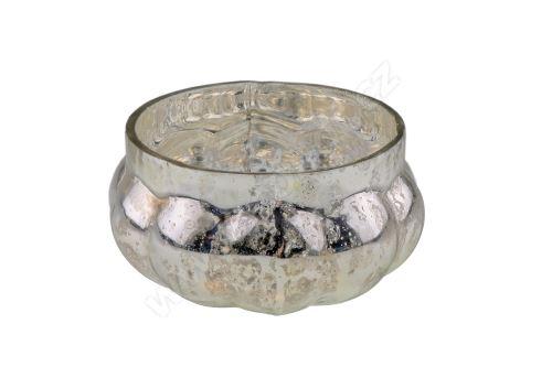 Svícen skleněný 6,5 cm rolnické stříbro
