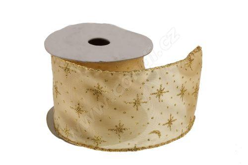 Vánoční textilní stuha na dárky a dekorace 6 cm x 2 m hvězdičky zlatá