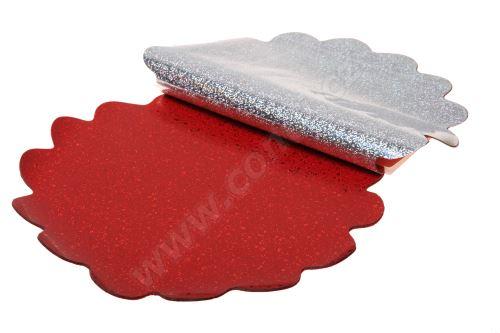 Floristická ronda 30cm holograf červená kolečka 1/2 50ks
