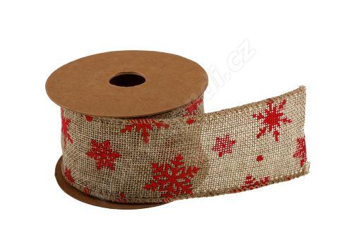 Vánoční jutová stuha vzor vločka 5cm x 5m AJ1605 47 - přírodní/červená
