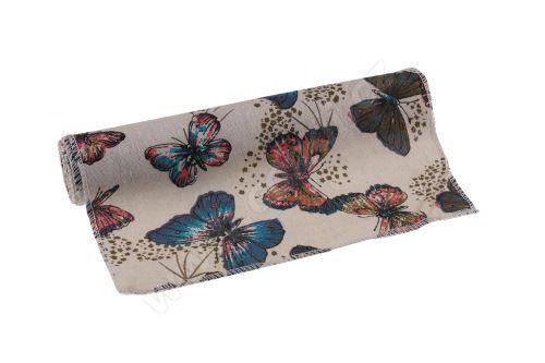 Látkový běhoun s motýlky 28cm x 3m LN11653 - přírodní