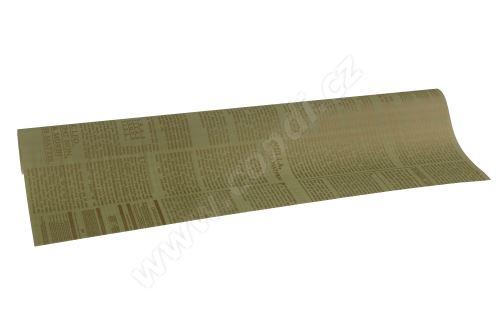 Floristická fólie 50cm x 9,1m novinový design 11/9 světle zelená se zlatou