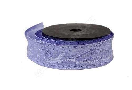 Textilní mačkaná stuha 4cm x 9,1m světle fialová