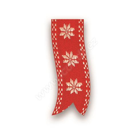Vánoční tkaná textilní stuha 310 hvězda 2,5cm x 10m - 07 červená