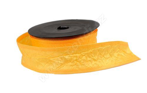 Textilní mačkaná stuha 4cm x 9,1m 117 oranžová