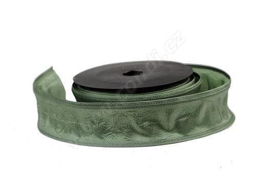 Textilní mačkaná stuha 4cm x 9,1m 116 travně zelená