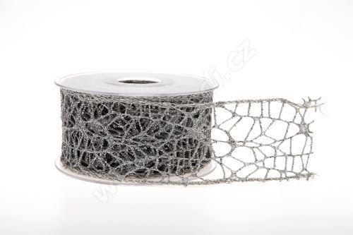 Dekorativní stuha Big spider glitter 5cm x 9,1m 22-STŘÍBRNÁ