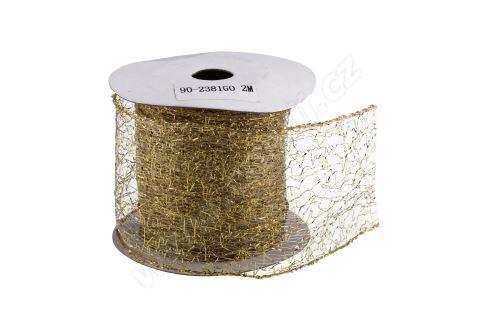 Vánoční textilní stuha na dárky a dekorace 6 cm x 2 m pavučina zlatá