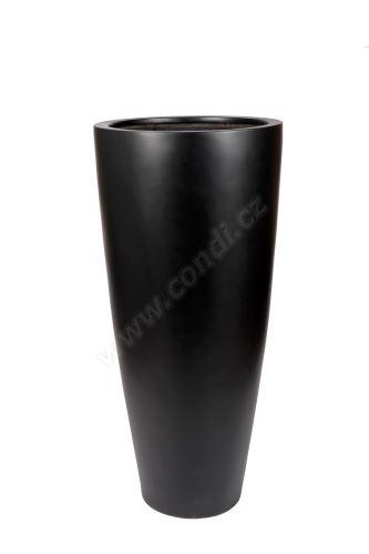 Venkovní květináč Fiberstone plain 47 x 100cm matně černý - odnímatelné dno