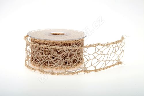 Dekorativní stuha Big spider 5cm x 9,1m PŘÍRODNÍ