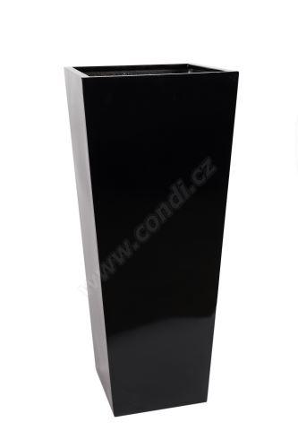 Venkovní květináč Fiberstone plain 32 x 32 x 76cm leskle černý - odnímatelné dno