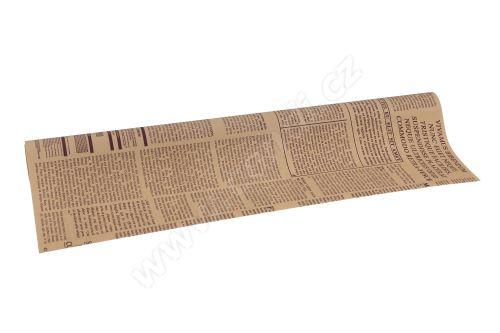 Floristická fólie 50cm x 9,1m novinový design 4/16 béžová s borůvkovou