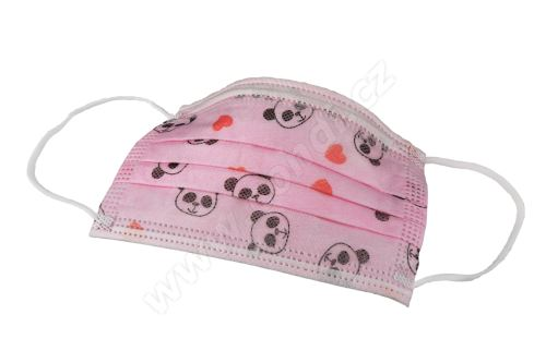 Dětské třívrstvé roušky dívčí 50 ks/bal růžové