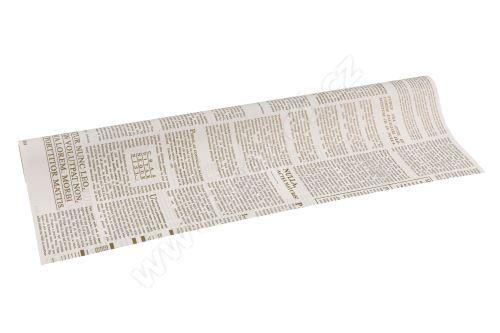 Floristická fólie 50cm x 9,1m novinový design 1/9 bílá se zlatou