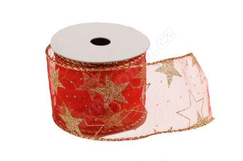 Vánoční textilní stuha na dárky a dekorace 6 cm x 2 m hvězdy červená