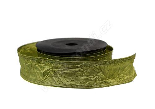 Textilní mačkaná stuha 4cm x 9,1m 53 zelená