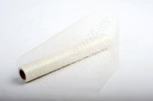 Dekorativní tkanina Fibre glitr 30cm x 4,6m BÍLÁ