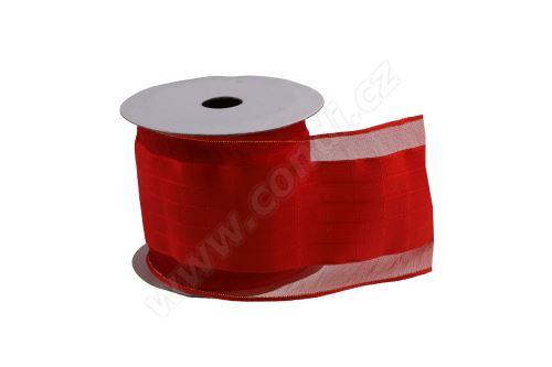 Vánoční textilní stuha na dárky a dekorace 6 cm x 2 m I červená