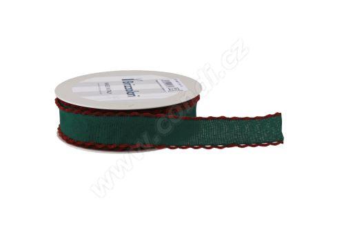 Textilní stuha s našitým krajem 233 3cm x 15m - 27 zelená/bordeaux