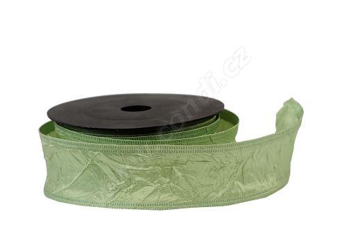 Textilní mačkaná stuha 4cm x 9,1m 82 jarní zelená