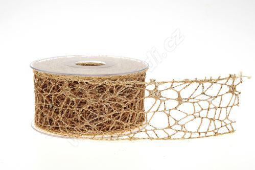 Dekorativní stuha Big spider glitter 5cm x 9,1m 21-ZLATÁ