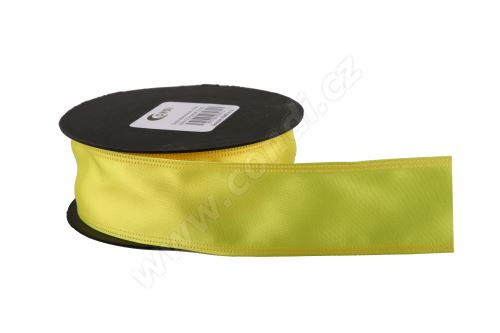 Atlasová stuha 4 cm x 9,1 m S025 citronově žlutá